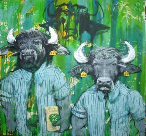 (PEDRO CUEVAS) Bull Street- año 2010- medida 150cm x 150cm - tecnica acrilico sobre tela