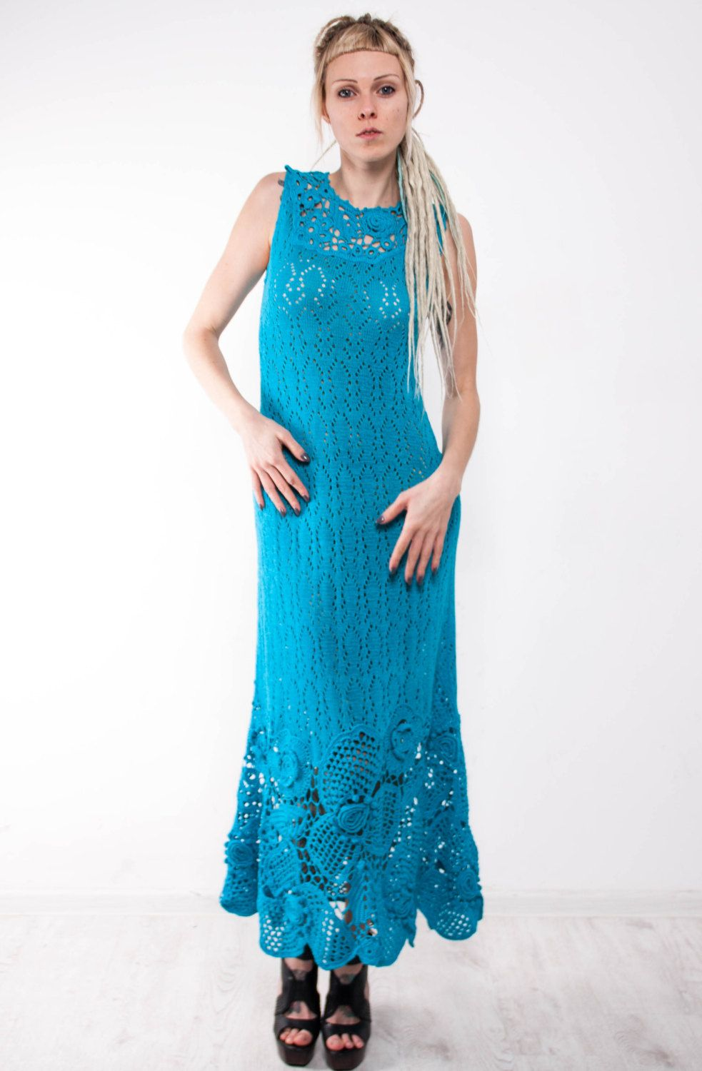 Maxi Blue dress Crochet turquoise dress maxi sundress blue lacy ...