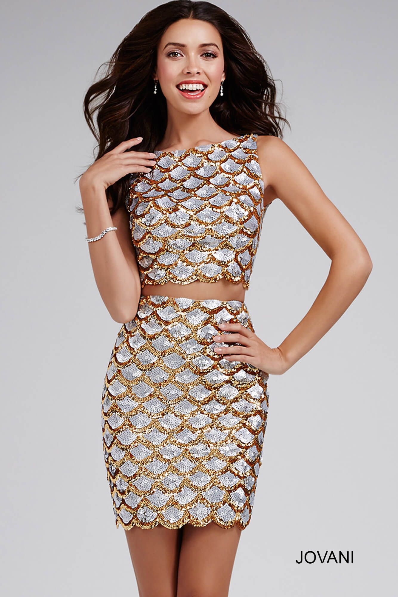 Look like a star in this #jovani 32689 two piece sequined dress ...