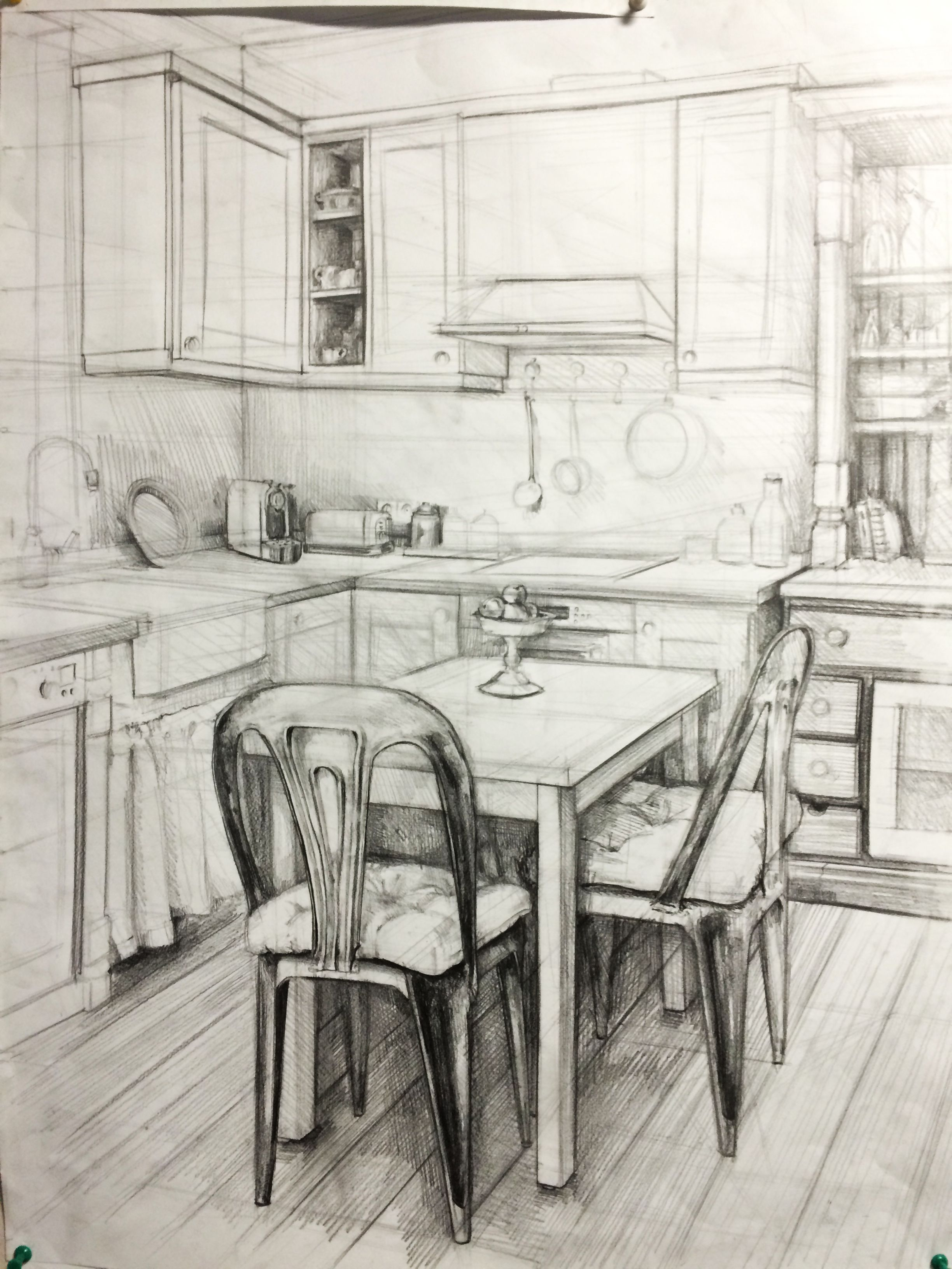 Inside House Drawing: Kitchen,interior,house,drawing