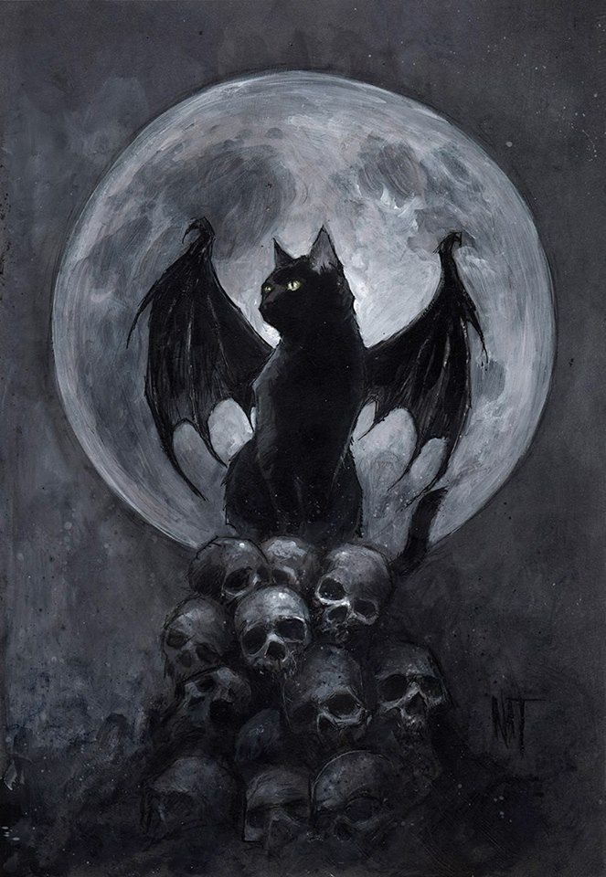 Another Cat With Bat Wings On A Pile Of Skulls Like