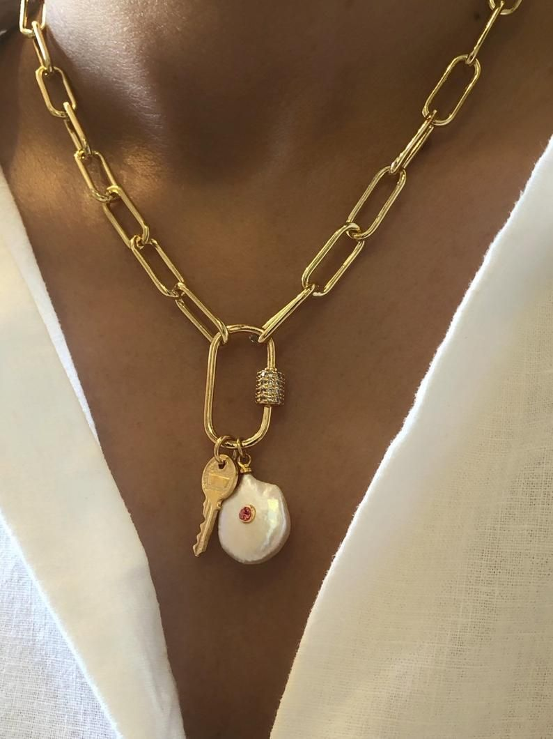 Photo of Gold carabiner necklace, gold lock necklace, gold chunky charm necklace, gold carabiner lock necklace, gold pearl necklace