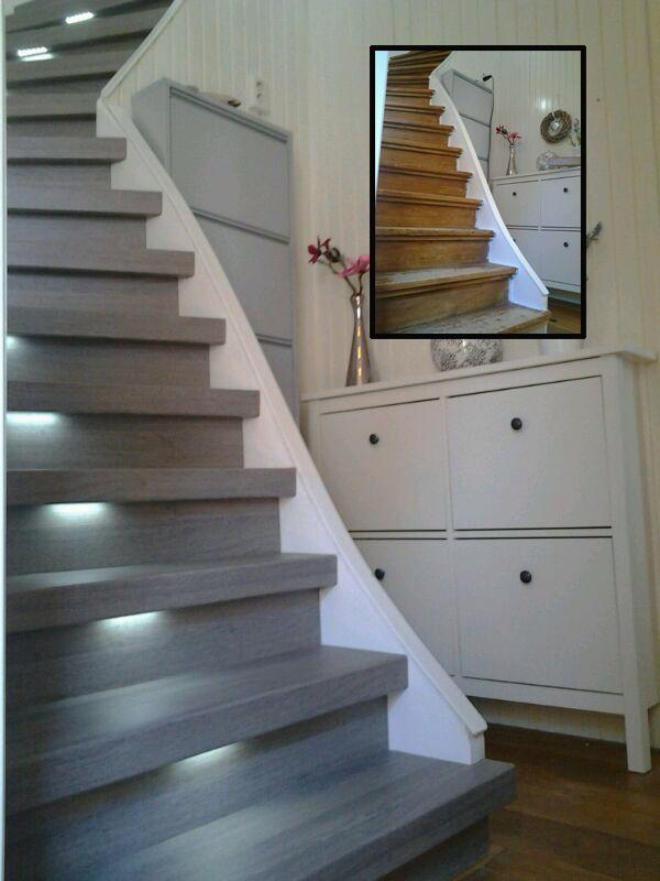 Deze trap is voorzien van het decor Silver Oak gecombineerd met ...