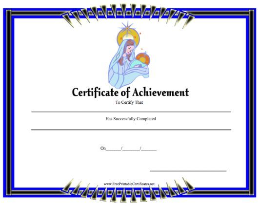 This printable certificate of achievement is intended for church - printable certificates of achievement