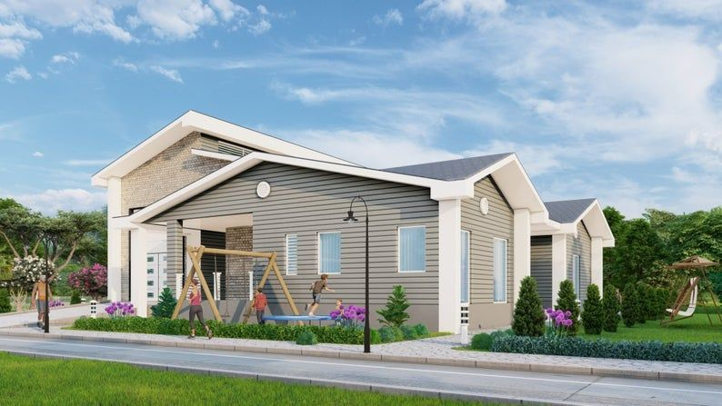 2 Bedroom House Plan with Twin car and RV Garages