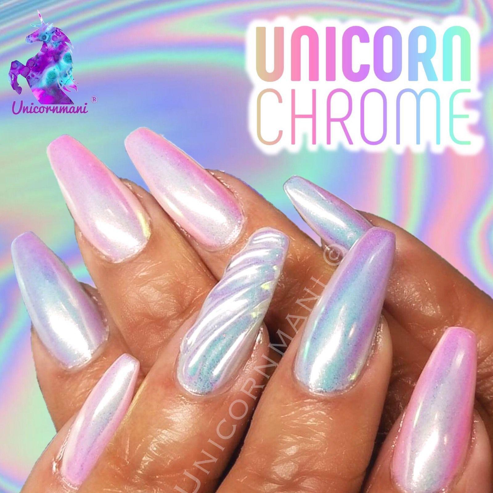 UNICORN CHROME White Mirror Effect Powder Nail Art Mermaid Rainbow ...