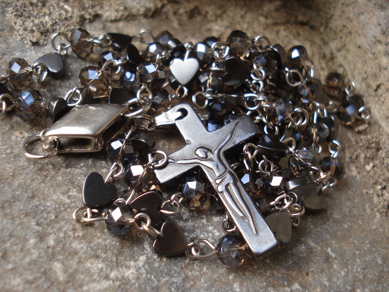Rosary Necklace Hematite Crucifix Cross Beaded Hematite & Crystals Unique Rosary Necklace Religious Handcrafted Gemstone Rosary Jewelry #rosaryjewelry