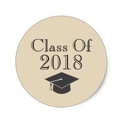 Beige class of 2018 with black graduation cap classic round sticker round stickers