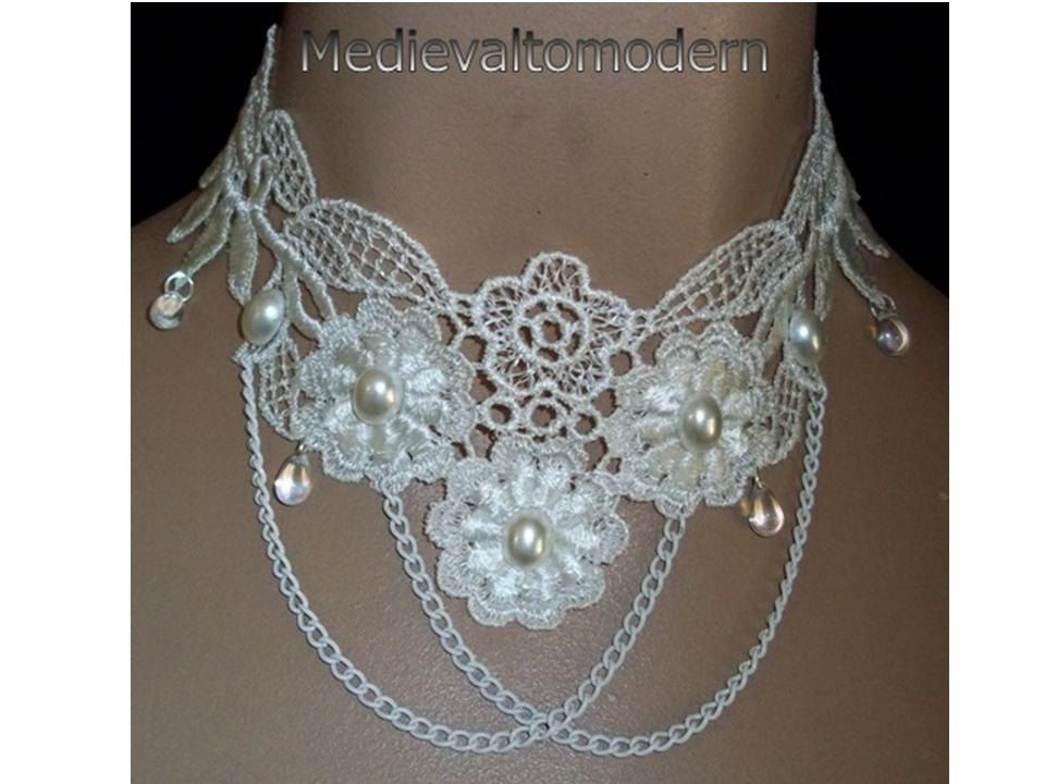 Choker in Cream with Draping Chain and Pearl Cab Medievaltomodern's Flower Venise lace Unique Necklace Wearable Art Runway Design by medievaltomodern on Etsy