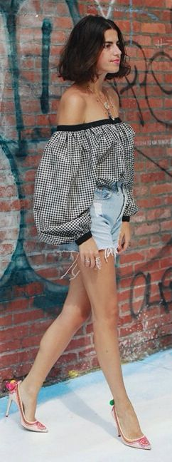 Off Shoulder Gingham Retro Inspired Top by They All Hate Us