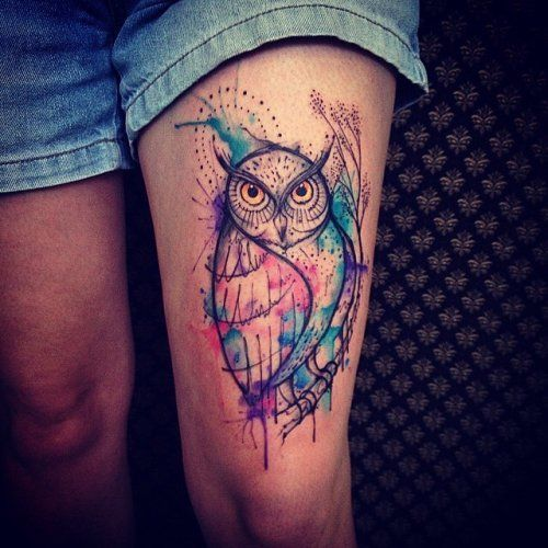 Watercolor Owl Tattoo On Thigh Neck Tattoo Watercolor Owl Tattoos Thigh Tattoo