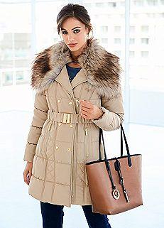 63b40414674 Faux Fur Trim Longline Quilted Coat