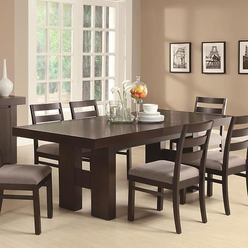 Casual Contemporary Dark Wood Dining Table Chairs Room Furniture Set