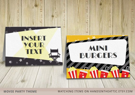 Movie party labels food tent cards editable TEMPLATE printable party DIY labels kids film night party & Movie party labels food tent cards editable TEMPLATE printable ...