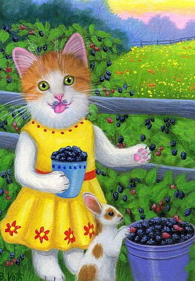 Kitten cat bunny rabbit picking blackberries summer original aceo painting art #Realism by Bridget Voth Ebay ID star-filled-sky