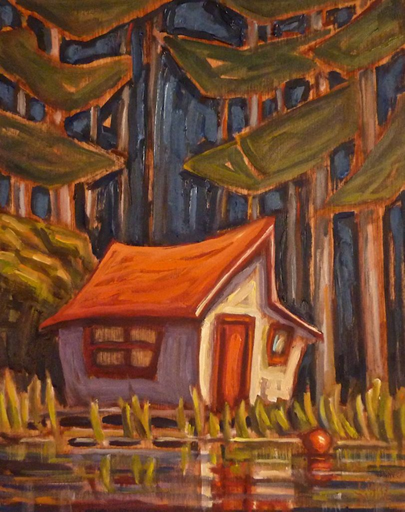 Little Red Roof Boathouse by Linny D. Vine