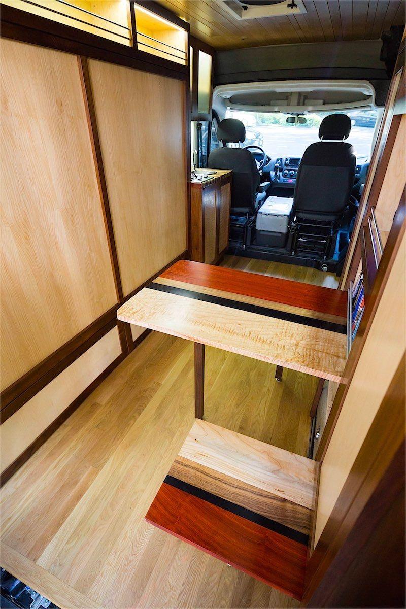 Van converted with custom woodworking