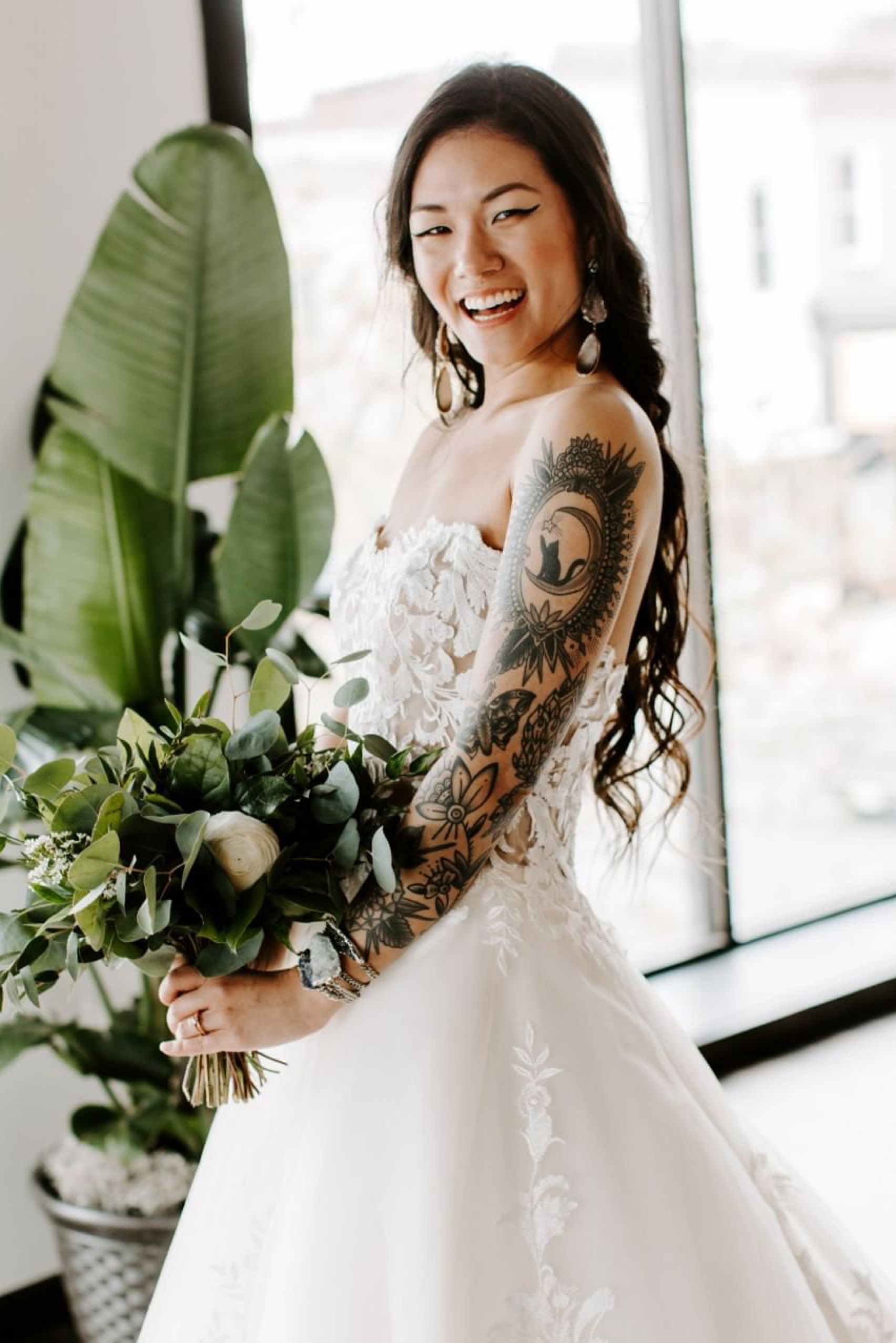 8068f0efd9 Tattooed Bride in Strapless Lace Ballgown Wedding Dress | We can't deny it –