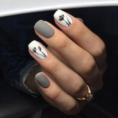 Uñas Gris Blanco Diseño Flores Negras Sencillas Nail