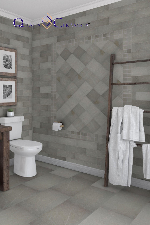Bathroom Floor Wall Tile Qualis Ceramica Palace Alhambra Grey 12x24 6x6 4x12 2x2 Fireplace Tile Entryway Flooring Flooring