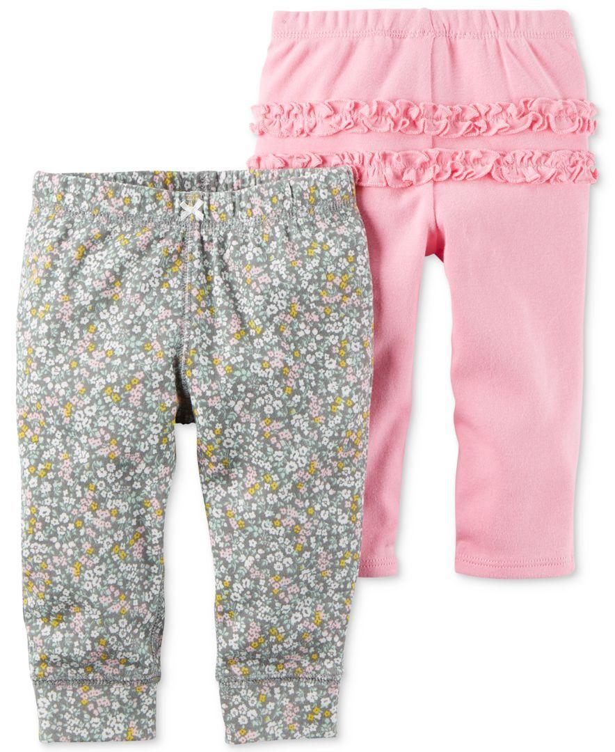 4b82e8fffc Carter's 2-Pk. Cotton Jogger Pants, Baby Girls (0-24 months ...