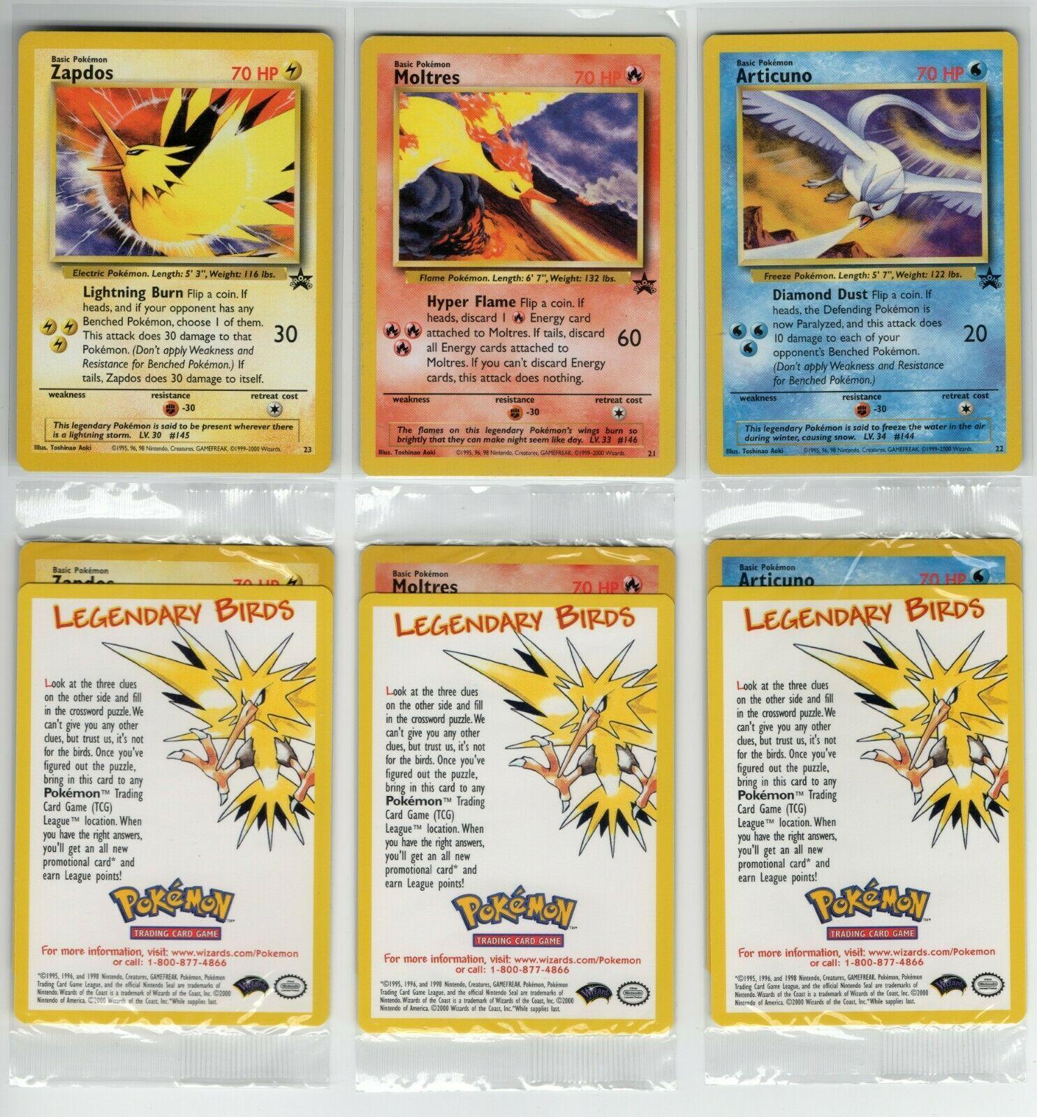 Zapdos /& Articuno! 3 Pokemon Black Star Promo cards /'Legendary Birds/' Moltres