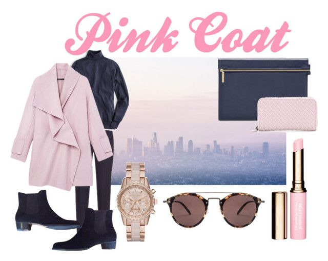 """Pink Coat"" by bjensen2006 ❤ liked on Polyvore featuring Elie Tahari, J.Crew, Vince, Bottega Veneta, Unützer, MICHAEL Michael Kors, Oliver Peoples and pinkcoats"