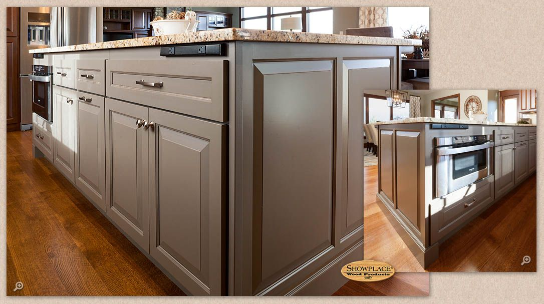 cabinets: this showplace kitchen island is striking in mid greige
