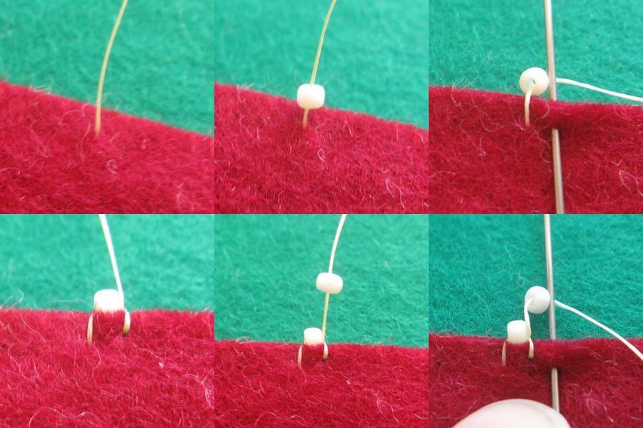 @sweet_coco_ ビーズの穴がコッチを向いているのも面白い表現かも! 穴が真上に向かうステッチの方法(ブリックステッチ)もあるんですよ♪ 私のステッチ方法は写真にまとめました。参考にしてください♪