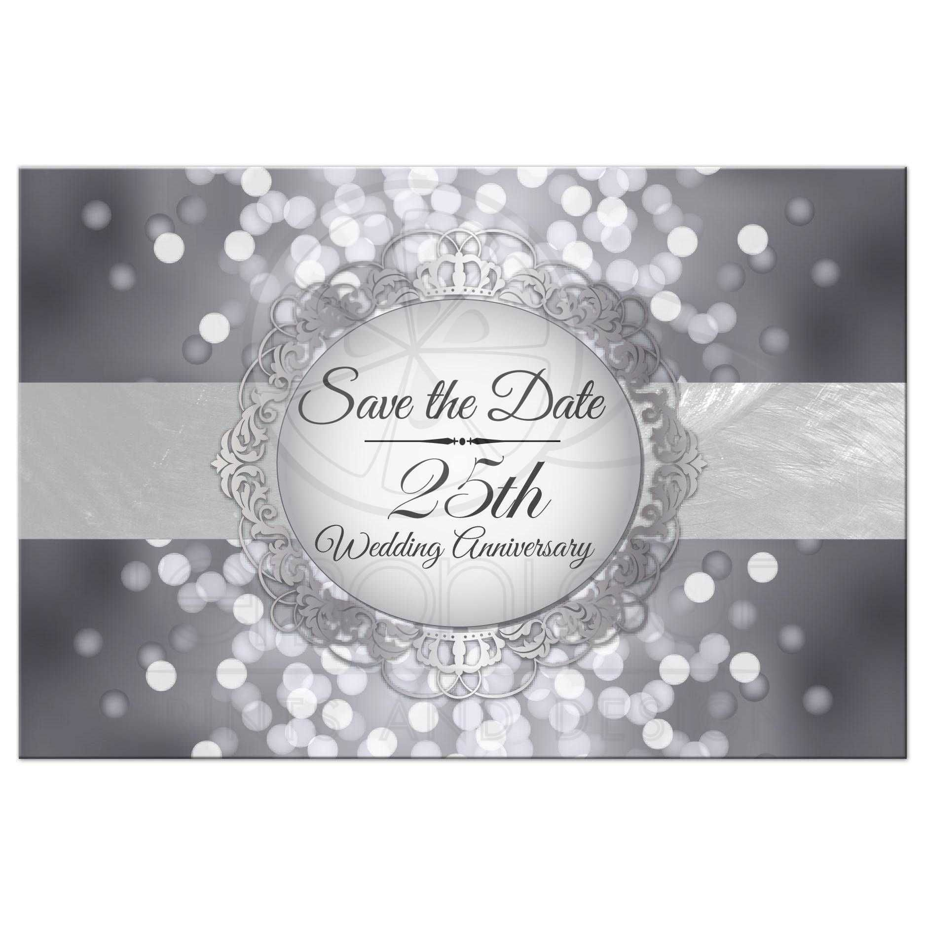 Save The Date Postcard Silver 25th Anniversary Bokeh Medallion 25th Wedding Anniversary Invitations 25th Wedding Anniversary Party Silver Save The Dates
