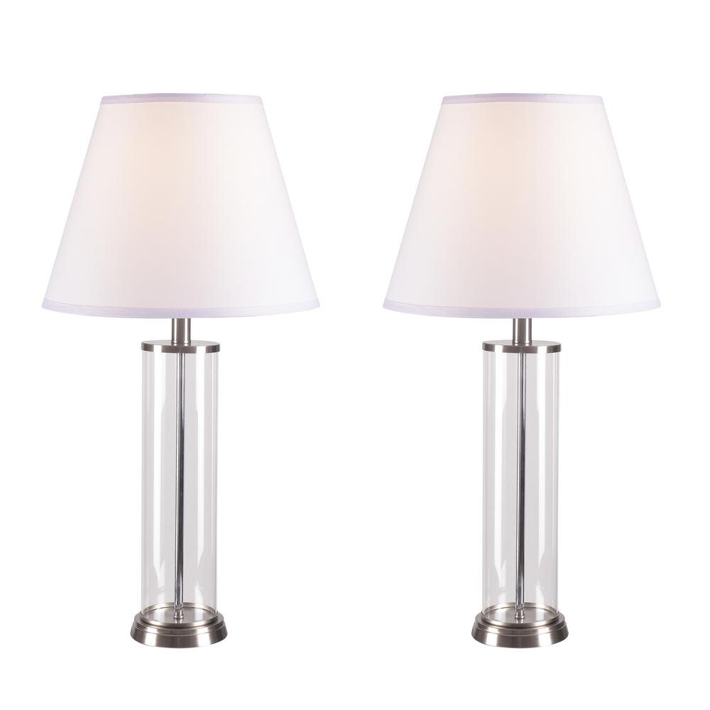 Kenroy Home Echo 28 In Glass Table Lamp Set 2 Pack 32080gbs The Home Depot Modern Table Lamp Table Lamp Sets Table Lamp