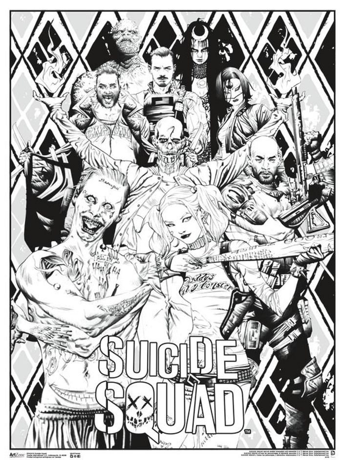 Suicide Squad movie poster coloring pages for adults | Comic ...