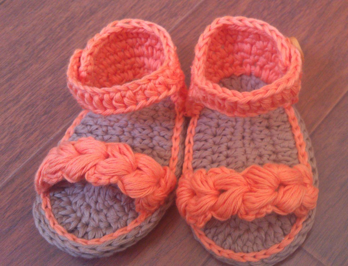 Sandalias para bebé a crochet trenzada | Booties | Pinterest