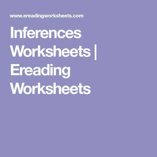 Inferences Worksheets Ereading Worksheets Inference Pinterest