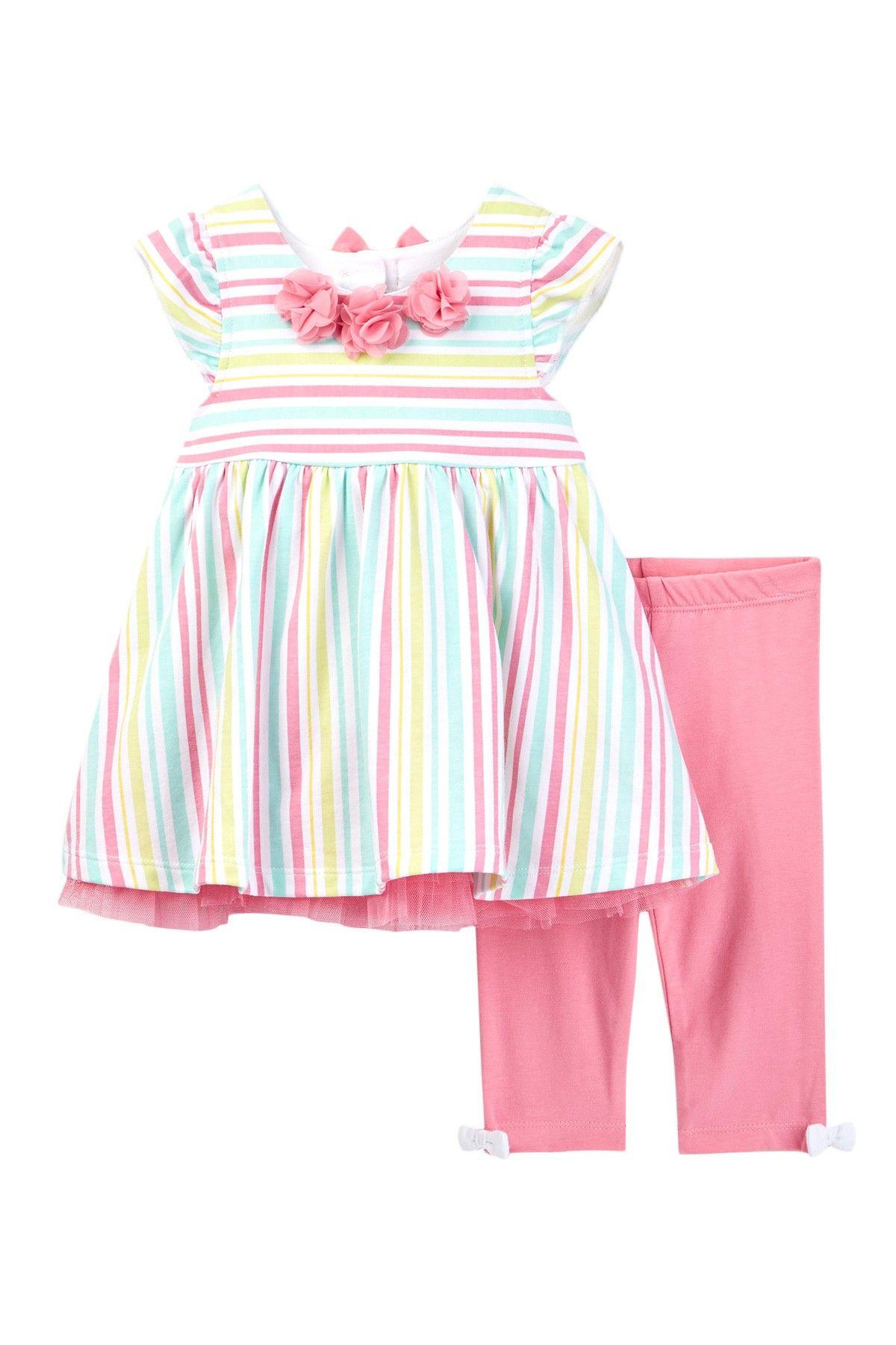 Multi Stripe Tunic & Legging Set (Baby Girls) by Little Me on @nordstrom_rack