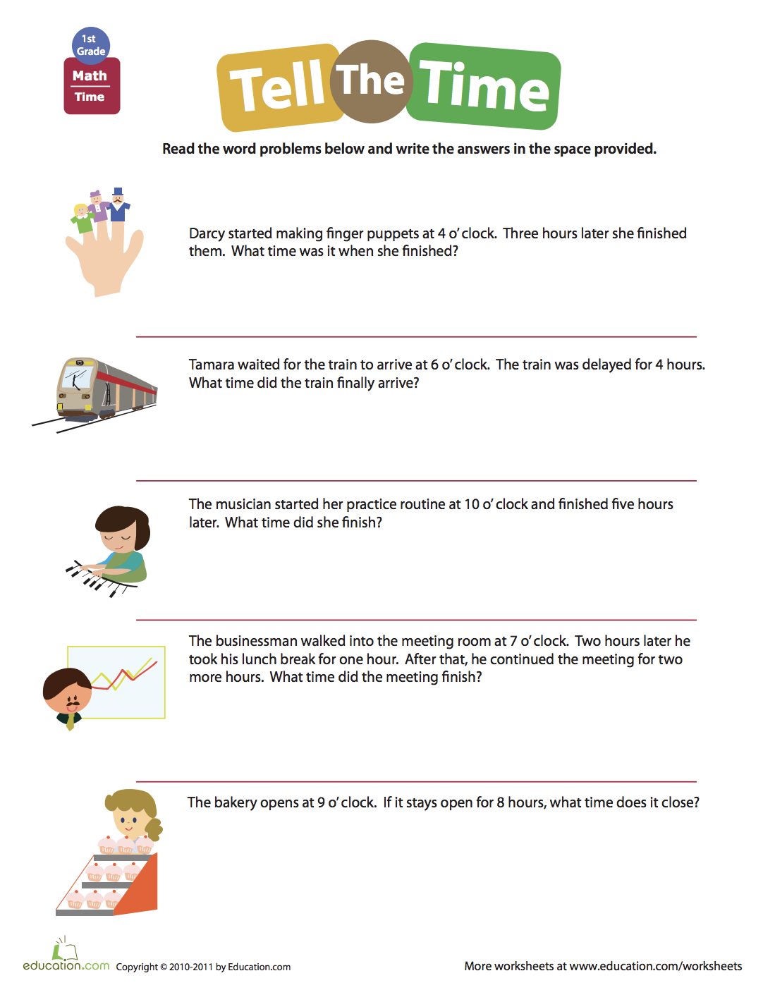 Telling Time: Word Problems   Worksheet   Education.com   Time word  problems [ 1404 x 1082 Pixel ]