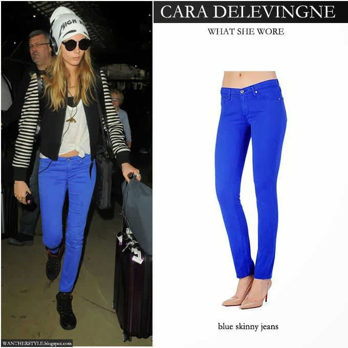 Cara Delevingne in bright blue skinny jeans | Celebrity fashion ...