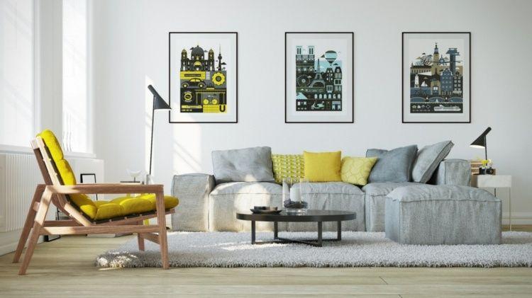 wohnzimmer-ideen-gelbe-sessel-kissen-graues-sofa-wandbilder - ideen für das wohnzimmer