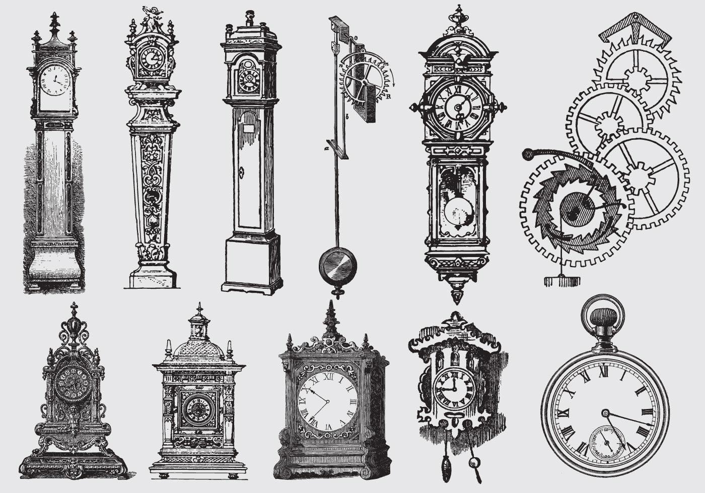 Старинные часы рисунок, картинки спокойной