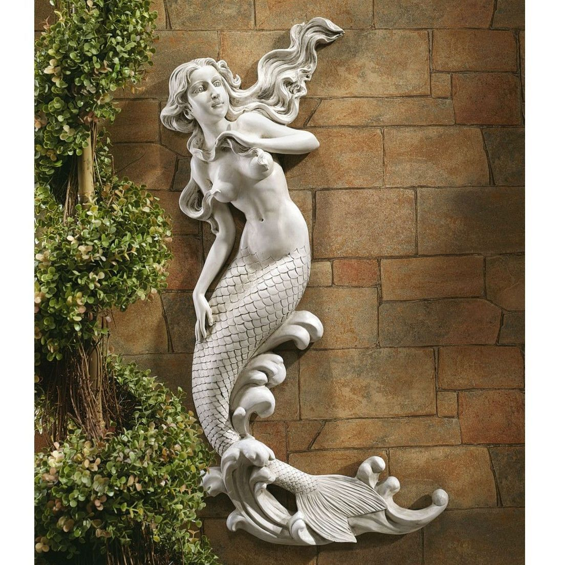 Outdoor Patio Wall Decor Mermaid Wall Mounted Garden Statue