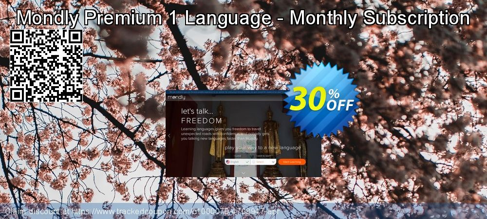 Mondly Premium 1 Language - Monthly Subscription Coupon 30% discount