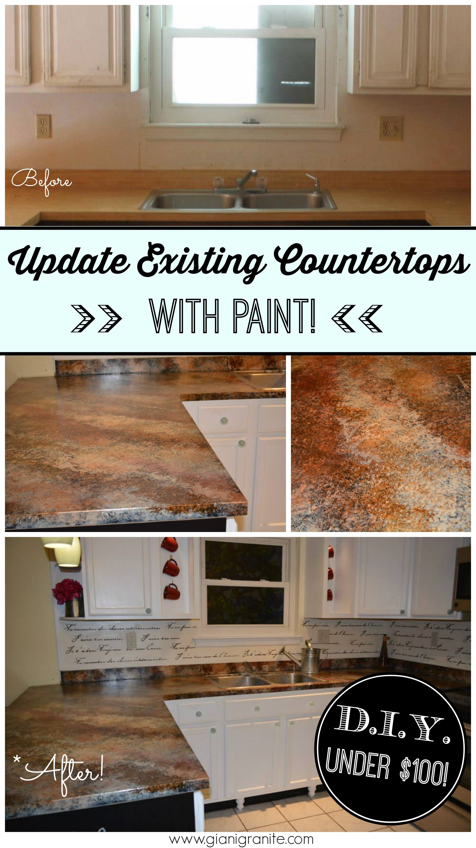 Granite Kitchen Makeovers Chocolate Brown Kit Giani Countertop Paint Feathers Artist
