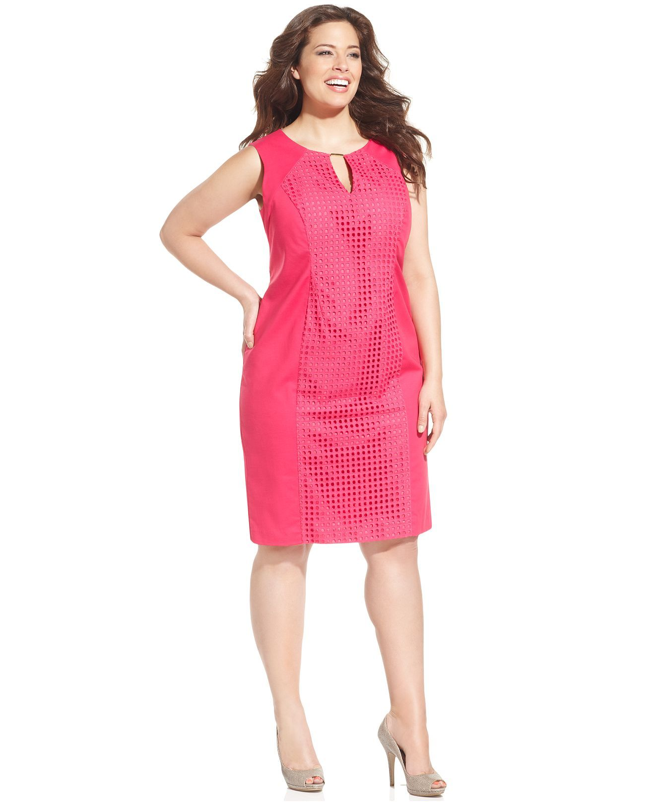 Calvin Klein Plus Size Dress, Sleeveless Cutout Keyhole Sheath ...