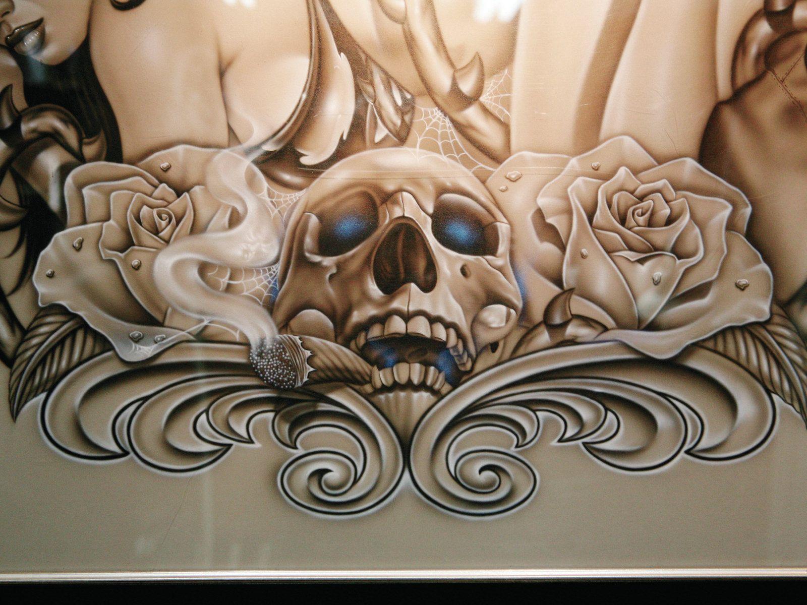 Lowrider Tattoo Flash Elias Airbrushed Skull