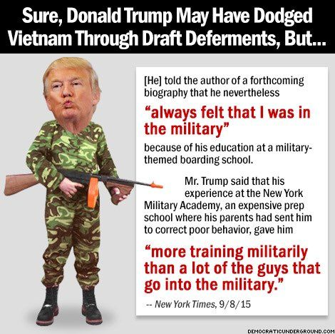 Trump is an insult to real military men and women. Plus, now he is exploiting them by claiming donations made will go to vets when they actually go to HIS foundation. He is nothing but LIES upon LIES and somehow people won't see it.