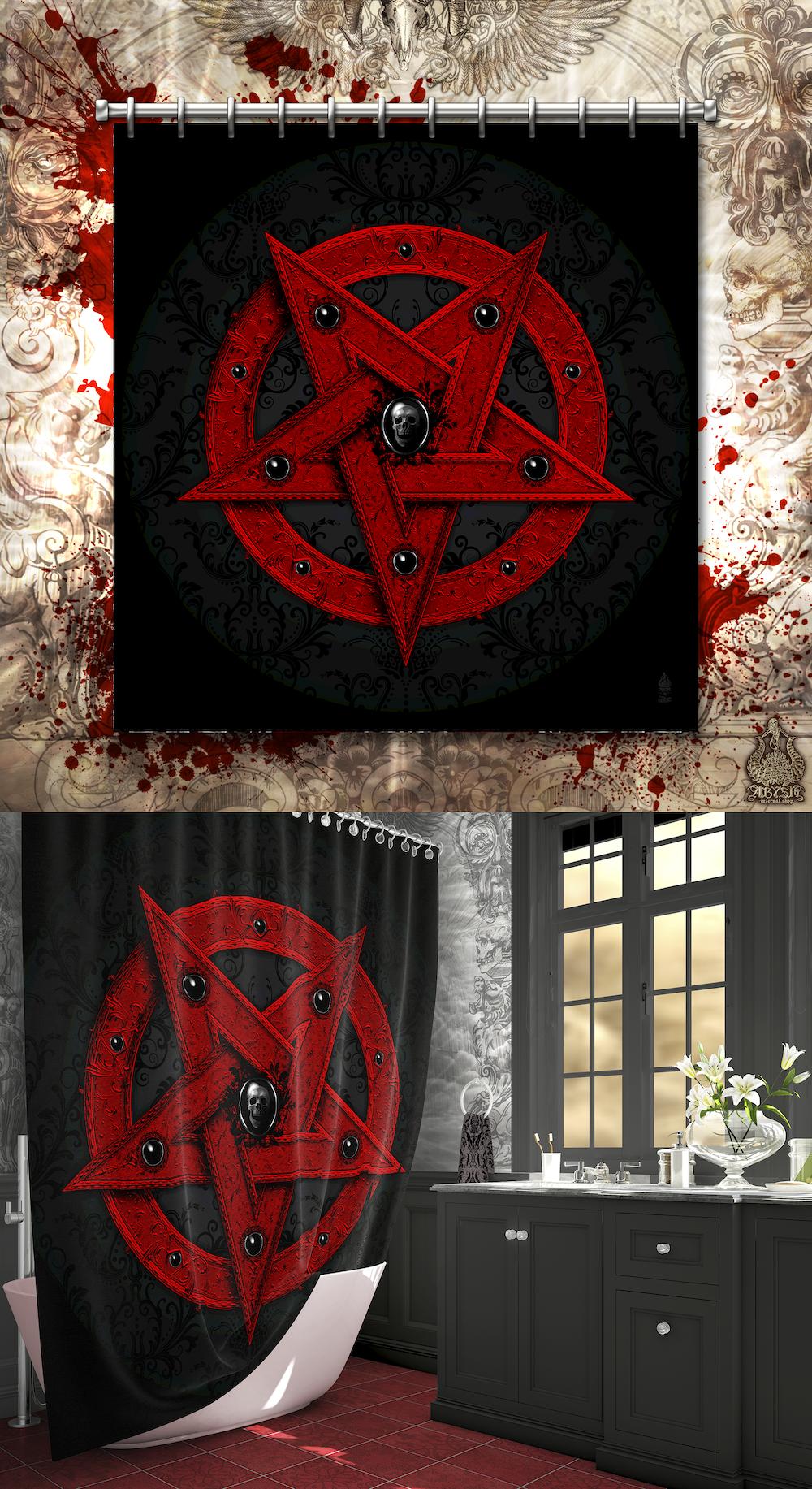 Red Pentagram Shower Curtain Goth Satanic Home Decor Goth Home