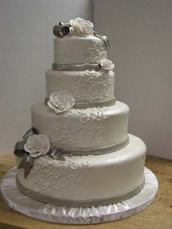 fondant with silver trim and bow