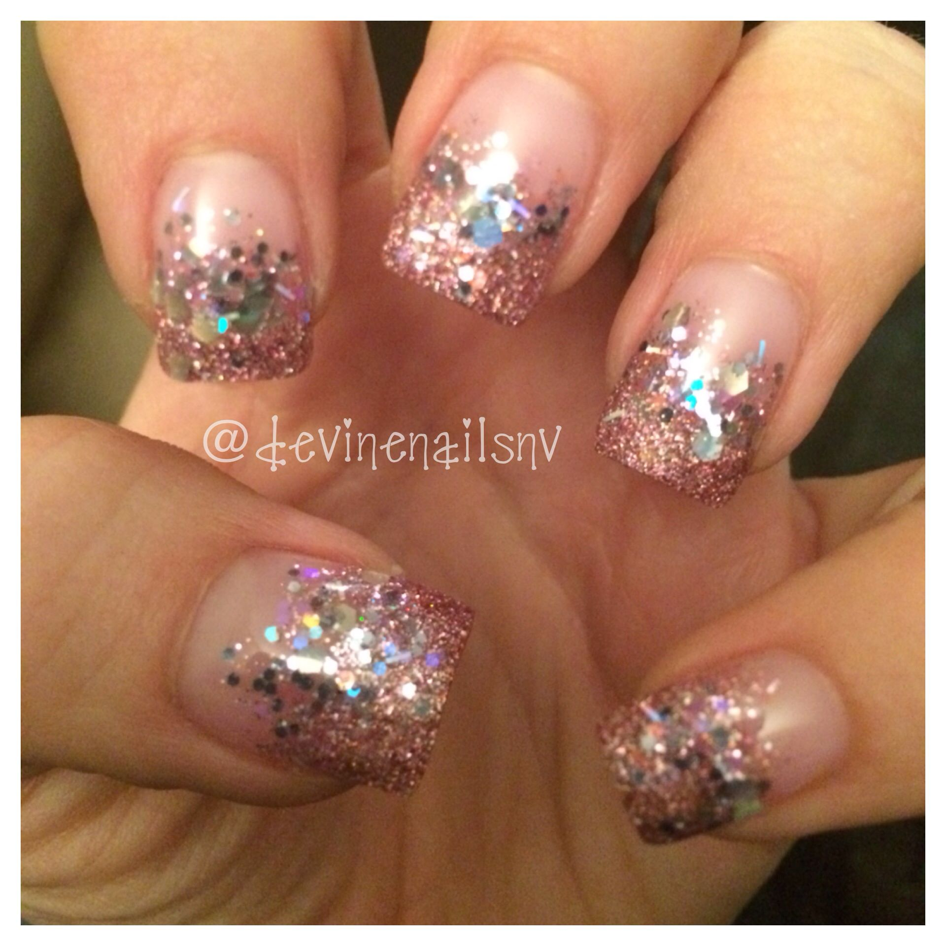 Pink glitter and silver glitter mix gel nails @devinenailsnv | Nails ...