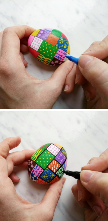 Patchwork Themed Painted Rocks Tutorial from Artistro
