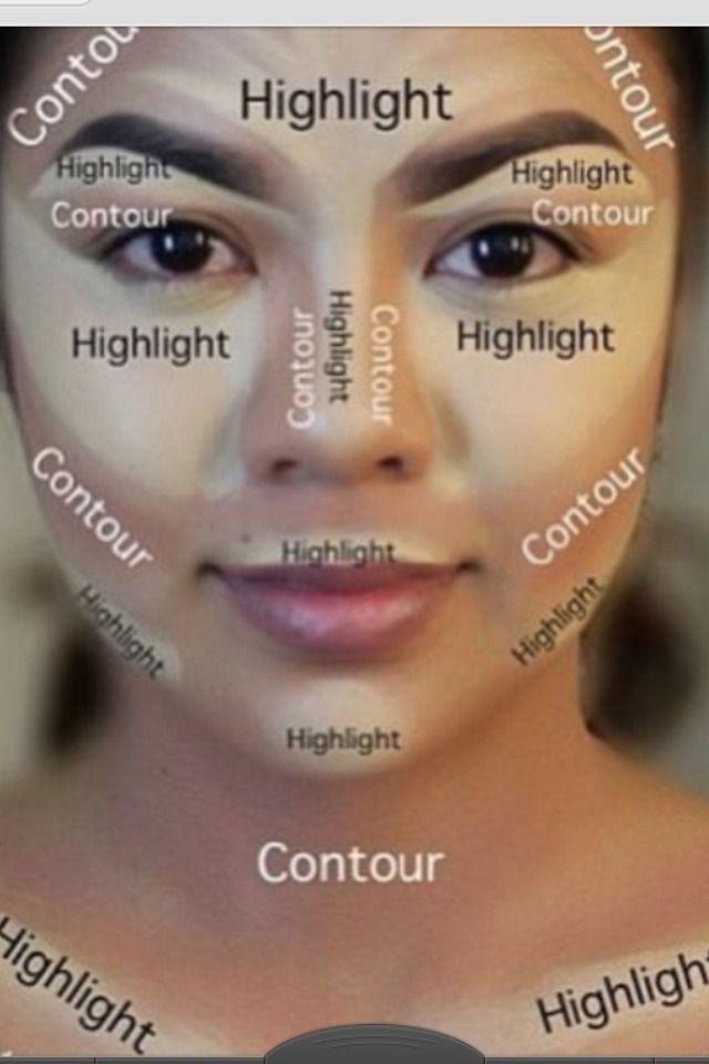 Create That Kim Kardashian Contour Using A Light Roll On Foundation Add Darker Foundation To Create That Perfect Contour Makeup Skin Makeup Highlighter Makeup